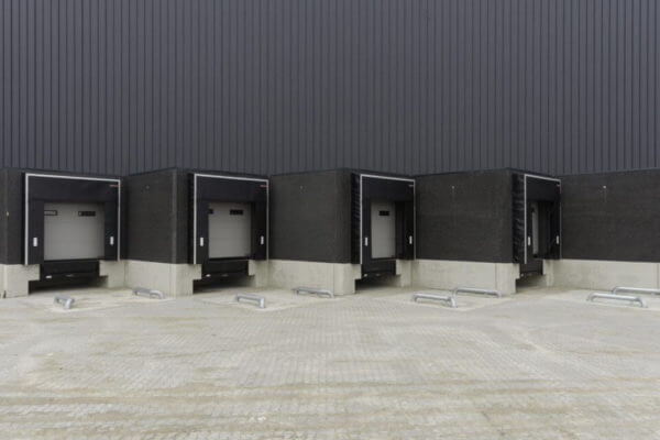 An outdoor view of loading docks at a warehouse - great for a background